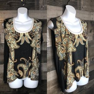 Chaser Gray Paisley White Collared Muscle Tee